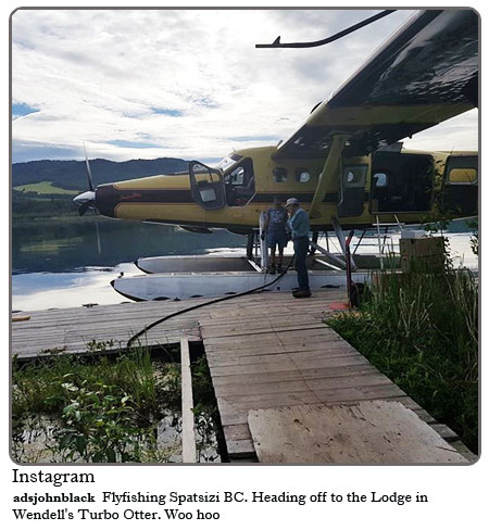 Flyfishing Spatsizi BC, heading off to the lodge in Wendell's Turbo Otter..Woo Hoo